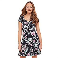 Joe Browns - Multi coloured floral print jersey 'Beach To Bar' V-neck tea dress