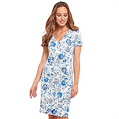 Joe Browns - Multi coloured floral print jersey 'Easy Wearing' V-neck knee length wrap dress