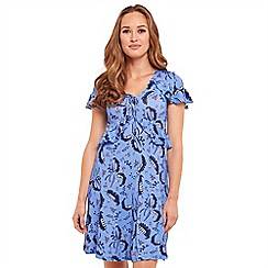 Joe Browns - Blue floral print jersey 'Leafy' V-neck tea dress