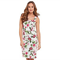 Joe Browns - White floral print 'Flower Garden' knee length bodycon dress