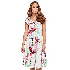 Joe Browns - White floral print 'Fabulously Flattering' V-neck knee length tea dress