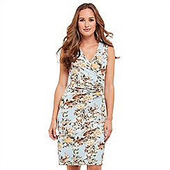 Joe Browns - Multi coloured floral print jersey 'Vacation' V-neck knee length wrap dress