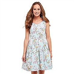 Joe Browns - Light blue floral print 'Summer Sunshine' V-neck knee length tea dress