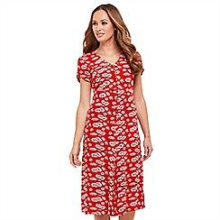Joe Browns - Red floral print 'Sizzling Summer' V-neck midi length tea dress