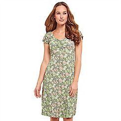 Joe Browns - Green floral print jersey 'Dainty Summer' V-neck knee length summer dress