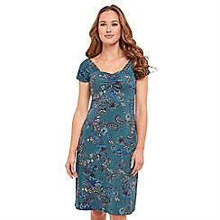 Joe Browns - Blue floral print jersey 'Dainty Summer' V-neck knee length summer dress