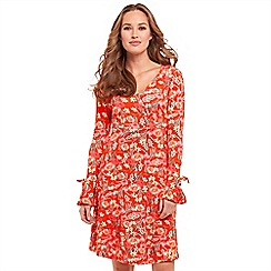 Joe Browns - Red floral print 'Hot Summer' V-neck long sleeve knee length tea dress
