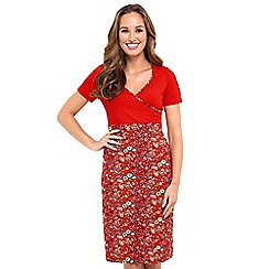 Joe Browns - Red floral print jersey 'Summer Floral' V-neck knee length dress