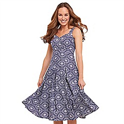 Joe Browns - Blue patterned 'Santorini' V-neck midi summer dress