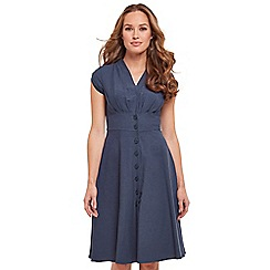 Joe Browns - Blue plain 'Lovely Linen Mix' V-neck knee length tea dress