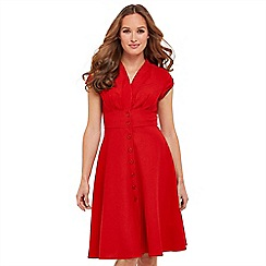 Joe Browns - Red plain 'Lovely Linen Mix' V-neck knee length tea dress