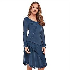 Joe Browns - Blue plain jersey 'Amazingly Versatile' long sleeve knee length tunic dress