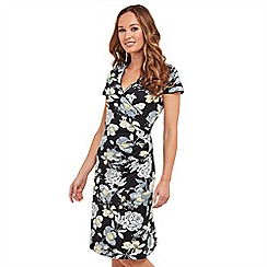 Joe Browns - Multi coloured floral print jersey 'Colours Of Summer' V-neck knee length wrap dress