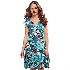 Joe Browns - Multi coloured floral print 'Flirty' V-neck knee length wrap dress