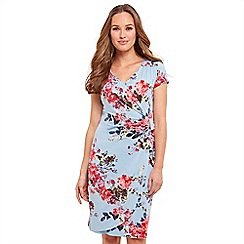 Joe Browns - Blue floral print jersey 'Summer Breeze' V-neck knee length wrap dress