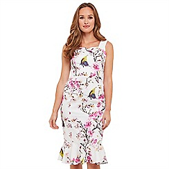 Joe Browns - White floral print 'Romantic Butterfly' knee length bodycon dress
