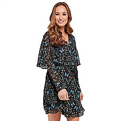 Joe Browns - Multi coloured floral print 'Cape Butterfly' V-neck long sleeve mini tea dress