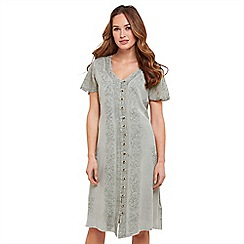 Joe Browns - Light green plain 'Simple Embroidered' V-neck knee length summer dress