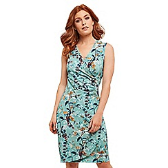 Joe Browns - Green floral jersey 'Summer Situation' knee length wrap dress
