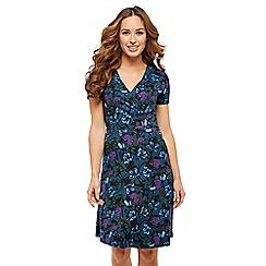 Joe Browns - Blue floral jersey 'Winter Flowers' V-neck knee length wrap dress