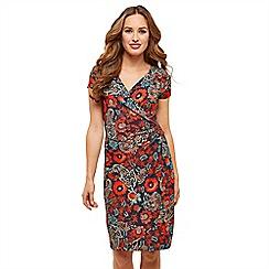 Joe Browns - Multicoloured floral jersey 'Flowering Cacti' V-neck knee length wrap dress