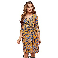 Joe Browns - Mustard floral jersey 'On To A Winner' V-neck knee length wrap dress