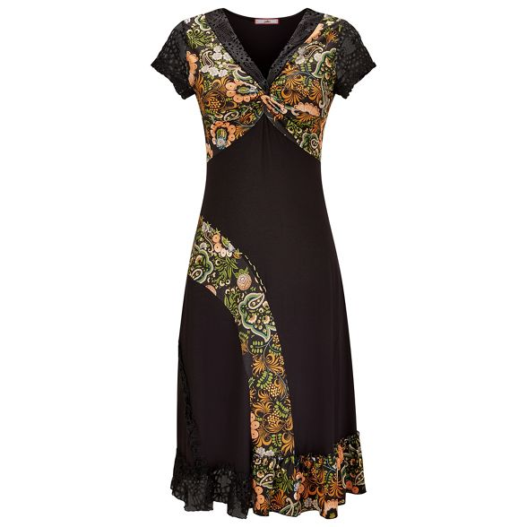 knee Joe jersey Multicoloured neck dress 'Lovely length V floral Browns Mix' SraqZwS8