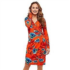 Joe Browns - Orange floral jersey 'Gorgeous Botanical' V-neck long sleeve knee length pencil dress