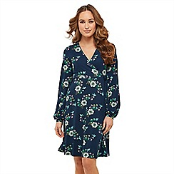 Joe Browns - Navy floral jersey 'Undeniably Striking' V-neck long sleeve knee length tea dress