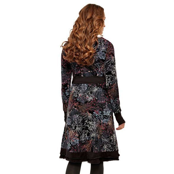 jersey knee length Browns long 'Night Garden' sleeve dress floral Joe Multicoloured wtpqzz8