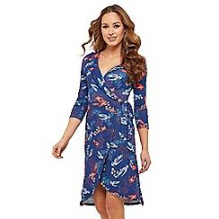 Joe Browns - Blue bird print jersey 'Beautiful Birdy' V-neck mini wrap dress