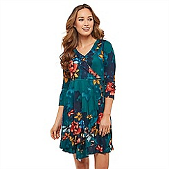 Joe Browns - Blue floral jersey 'Fields In Bloom' V-neck mini wrap dress
