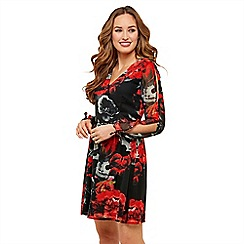 Joe Browns - Multicoloured floral 'Sultry' V-neck long sleeve knee length skater dress