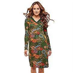 Joe Browns - Multicoloured floral jersey 'Fall Flowers' V-neck long sleeve knee length tunic dress