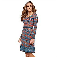 Joe Browns - Multicoloured mosaic jersey 'Mesmerising' long sleeve knee length dress
