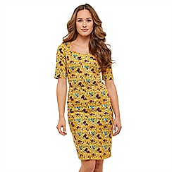 Joe Browns - Mustard floral 'Sultry Bird' knee length bodycon dress
