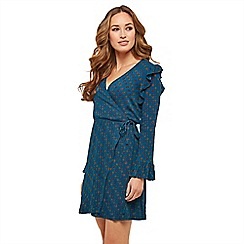 Joe Browns - Blue spotted 'Charming Circle' V-neck long sleeve knee length wrap dress
