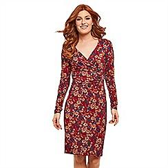 Joe Browns - Multicoloured floral jersey 'Fabulously Flattering' V-neck long sleeve knee length wrap dress