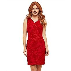 Joe Browns - Red jersey 'Fancy Flocked' wrap dress
