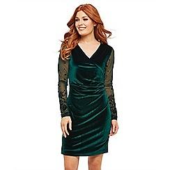 Joe Browns - Dark green velvet 'Sultry Party' V-neck long sleeve short length wrap dress