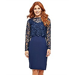 Joe Browns - Blue plain jersey 'Perfect Lace' long sleeve knee length bodycon dress