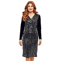 Joe Browns - Metallic sequin jersey 'Sparkle All Night' V-neck long sleeve knee length bodycon dress