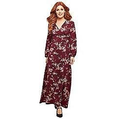 Joe Browns - Dark red printed jersey 'Elegant Floral' V-neck long sleeve full length maxi dress