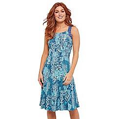 Joe Browns - Blue Floral Jersey 'Caroline's' Knee Length Tea Dress