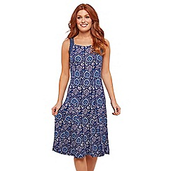 Joe Browns - Purple Floral Jersey 'Caroline's' Knee Length Tea Dress