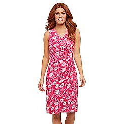 Joe Browns - Pink Floral Jersey 'Flirty Flattering' V-Neck Knee Length Wrap Dress