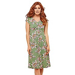 Joe Browns - Green Floral Jersey 'Sweet Thing' V-Neck Knee Length Tea Dress