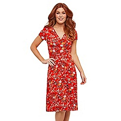 Joe Browns - Red Floral Jersey 'Flattering' V-Neck Knee Length Skater Dress