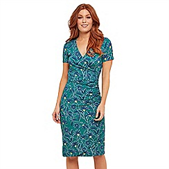 Joe Browns - Dark Turquoise Floral Jersey 'Frivolous' V-Neck Knee Length Wrap Dress
