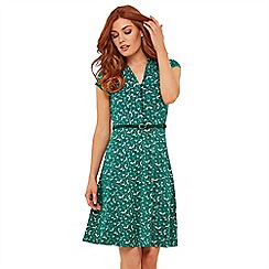 Joe Browns - Green Floral Jersey 'Ditsy Vintage' V-Neck Knee Length Tea Dress